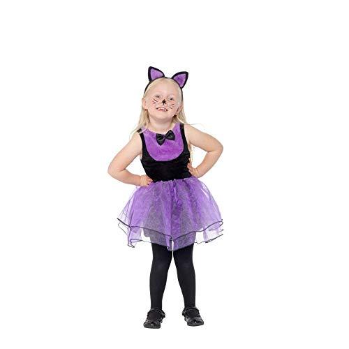 Smiffys Toddler Cat Costume Disfraz de gato para niño, color negro y morado, Toddler-1-2 Years (49850T1)