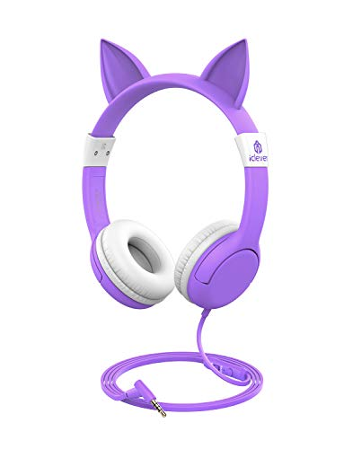 310BiioYexL. SL500  - iClever Kids Headphones, Cat-Inspired Wired On-Ear Headsets with 85dB Volume Limited, Food Grade Silicone Material (Kids-Friendly), 3.5mm Audio Jack Cable, Children Headphones for Kids, Purple