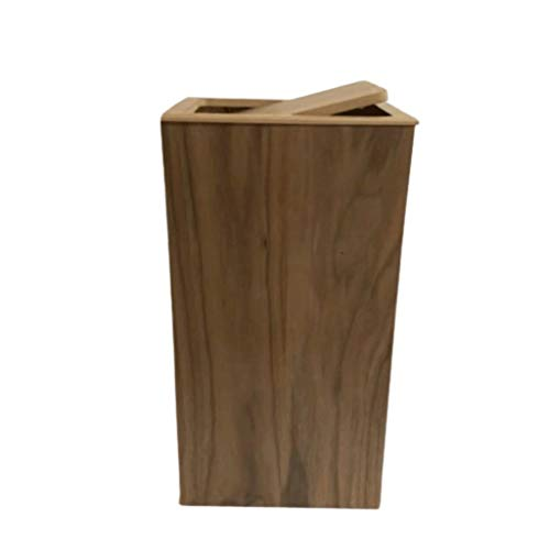 Zaza Bins Shake Lid Garbage Can Wooden Trash Can,Simple Creative Nordic Style Dustbin Home Living Room Bedroom Office Storage Bucket Waste Decorative Urns (Color : Brown)