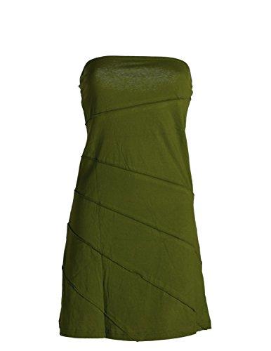 Vishes - Alternative Bekleidung - Mini Sommerkleid im Patchworkdesign aus leichtem Baumwolljersey Olive 38