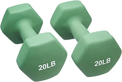 Amazon Basics Neoprene Coated Dumbbell Hand Weight Set, 20-Pound, Set of 2, Light Green