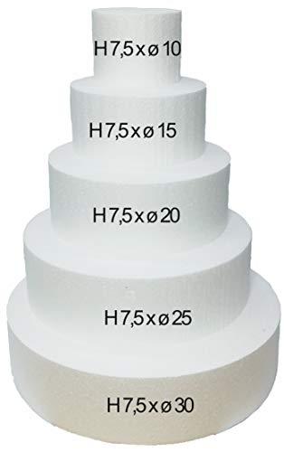Party & Co. Juego de 5 unidades de discos de poliestireno para tarta de cumpleaños de niños falsos redondos de 7,5 cm de altura y 30 cm de diámetro, 25 cm, 20 cm, 15 cm y 10 cm de diámetro.
