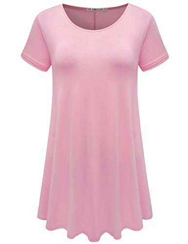 JollieLovin Women's Short Sleeve Loose Fit Flare Hem T Shirt Tunic Top (Pink, L)