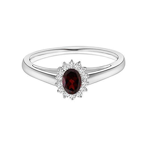 Shine Jewel 0.50 Ctw Garnet Gemstone Art Deco 925 Sterling Silver Sun Flor diseño halo Acentos Anillo (16)
