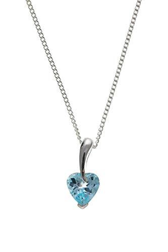London Jewellery Quarter Topacio Azul Colgante Corazón Plata Maciza de Ley Collar 925 Contraste