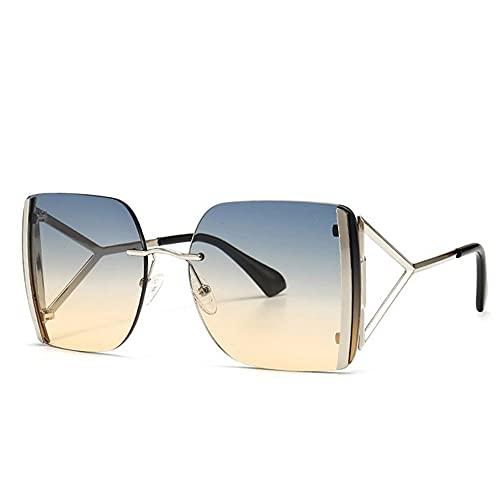 HAIGAFEW Gafas De Sol Cuadradas Unisex para Mujer Gafas De Sol para Mujer Gafas De Sol De Gran Tamaño para Mujer Proteger Los Ojos-Té Verde Plateado