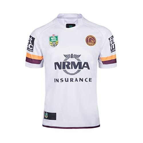 CRBsports Brisbane Broncos, Rugby-Trikot, Away Edition, Bestickter Neuer Stoff, Swag Sportswear (Weiß, M)
