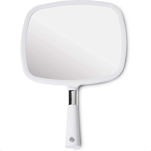 Mirrorvana Large & Comfy Hand Held Mirror with Handle - Professional Salon Model in White (1-Pack)