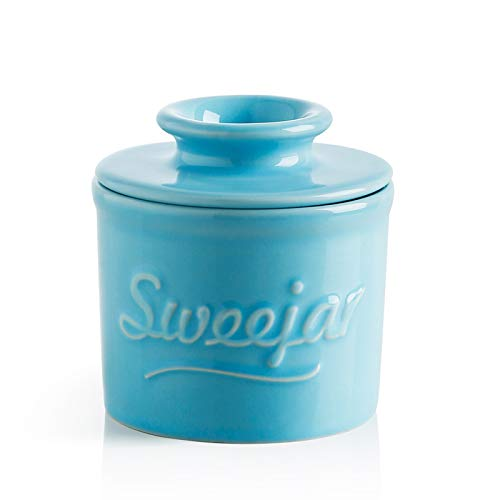 SWEEJAR Porcelain Butter Crock Keeper, French Butter Dish Keeps the Butter Fresh Soft & Spreadable, Serving Butter Easy for Bread Lovers Breakfast Kitchen Counter (Steel Blue)