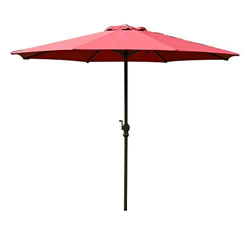 XIAOYUE Best Choice Products Sombrilla Parasol Redondo Al Aire Libre del Patio del Mercado de Los 9ft con el Poste de Acero, Eje de BalancíN de La Moda