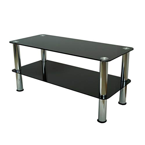 Mountright 2-Tier Glass Table - Small Glass Coffee Table with Silver Legs - Black Glass Side Table with Rounded Edges