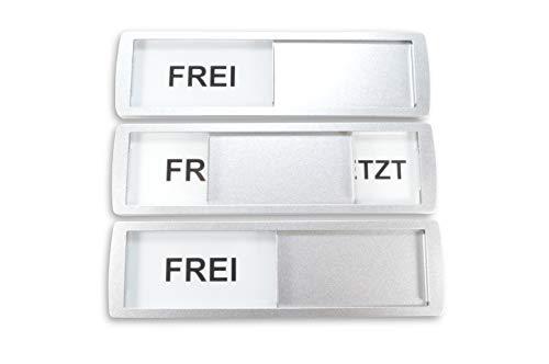 1xGrandes letreros deslizantes FREI/BESETZT - 17.5 x 5cm - Letrero con función deslizante para indicar el estado de una habitación - Adhesivo de alta calidad por la marca mundialmente 3M