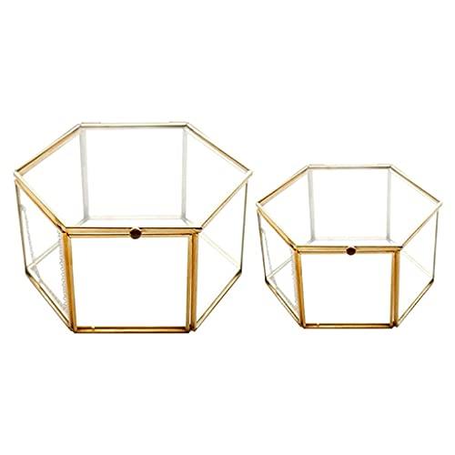 W-HUAJIA 2 UNIDS Geométrico Caja de Vidrio Caja de Joyería Joyería Organiza Tenedor Tablero Suculento Plantas Contenedor Almacenamiento para el hogar