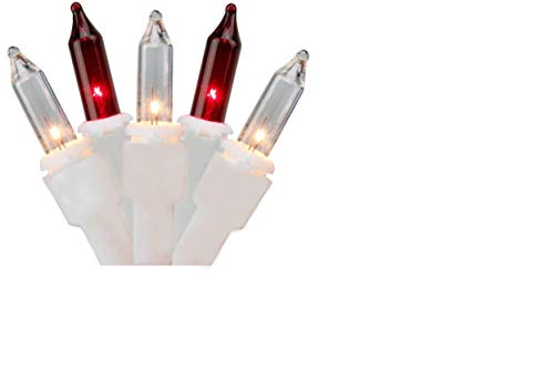 dobar Red and White Christmas Lights with White Wire - UL Listed for Indoor & Outdoor Use - Set of 100
