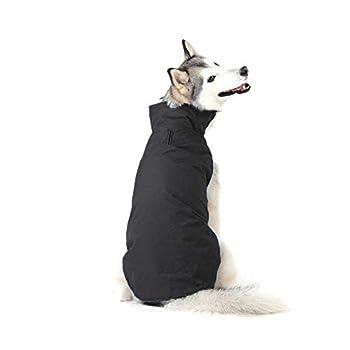 Bwiv Manteau d'hiver pour Chiens Grand Veste Vêtement Imperméable Intérieur Polaire avec Un Ouverture pour la Laisse Noir 4XL