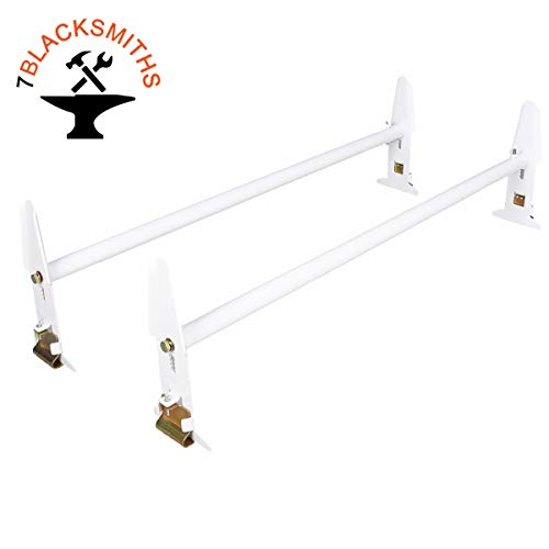 7BLACKSMITH Adjustable Van Roof Ladder Rack Carrier 2 Cross Bars for Chevy Dodge Ford GMC Express 47''-77'' 500lbs