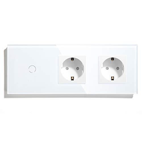 BSEED Touch Lichtschalter 2-Wege-Schalter mit Steckdosen 1 Fach 2 Wege Glas Touch-Panel Lichtschalter 2-Wege-Schalter und Steckdosen Weiß 228mm