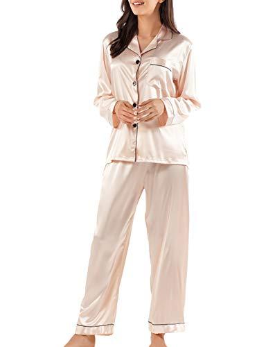 Gaeshow Damen-Schlafanzug-Set, Seidensatin, Pyjama-Set, langärmelige Nachtwäsche, Loungewear für alle Jahreszeiten Gr. 42, champagnerfarben