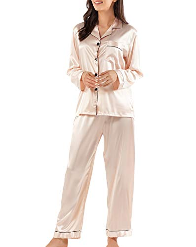 GAESHOW Damen Satin Schlafanzug Lang Pyjama Set Elegant Hausanzug Loungewear Seide Sleepwear Set(Champagner,S)
