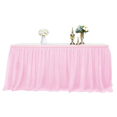 Mantel de Mesa para Fiestas, Banquetes de Boda, decoracin del hogar, a Prueba de Arrugas, para Fiestas de Navidad (2.75m x 0.8m, Rosado)