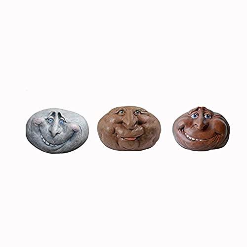koeyleo Estatua de Piedra de Cara Muggle de Roca, decoración de Escultura de Arte de Roca de Cara Divertida, Escultura de Arte de Patio, esculturas de Resina, Piedra de jardín místico (A+B+C)