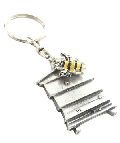 Bienenstock & Biene Handgefertigt Zinn Schlüsselanhänger + Abzeichen + Organza Beutel + 59mm Knopf-abzeichen