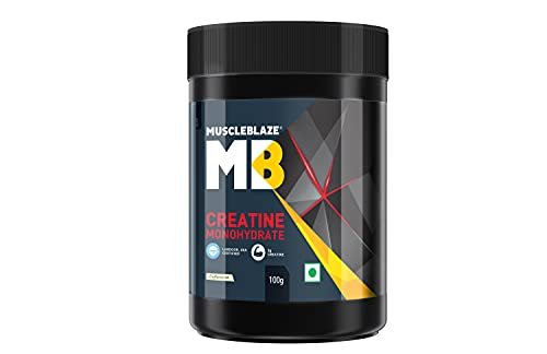 MuscleBlaze Creatine Monohydrate, India's Only Labdoor USA Certified Creatine (Unflavoured, 100 g / 0.22 lb, 33 Servings)
