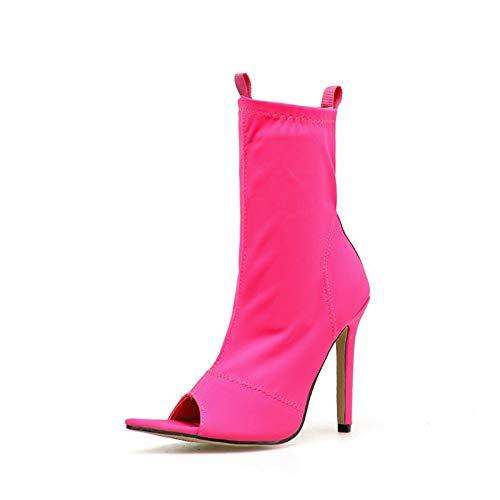 SMSZTYM Colores De Caramelo Botas Otoño Invierno Peep Toe Botines Elásticos Delgados Mujeres Zapatos De Tacones Altos Negro Tamaño Grande 41 42 Botines