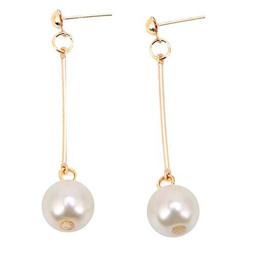 LORIEL Pendientes largos de perlas de imitación para mujer, pendientes de color dorado con caja púrpura