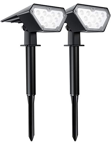 TRODEEM 12 LEDs Solar Landscape Spotlights Outdoor, IP67 Waterproof Solar Powered Wall Lights 2 in 1 Wireless Solar Landscape Lights for Yard Garden Driveway Porch Walkway Pool Patio 2 Pack Cold White