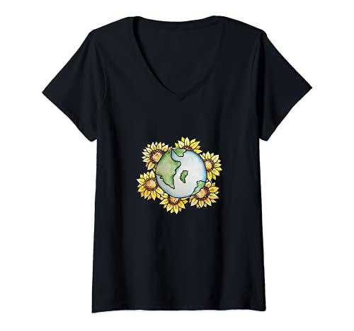 Mujer Día de la Tierra Girasoles Aman Camiseta Cuello V