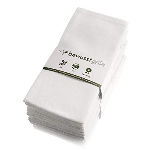 BewusstGrün I 12 Faire & Nachhaltige Stoffservietten I 100% Bio-Baumwolle I 45x45 cm Weiß
