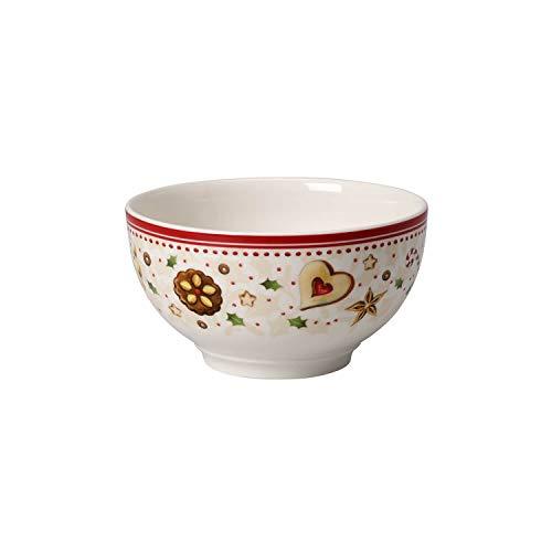 Villeroy & Boch Winter Bakery Delight Bol avec motifs étoiles filantes, Porcelaine Premium, Blanc/Rouge