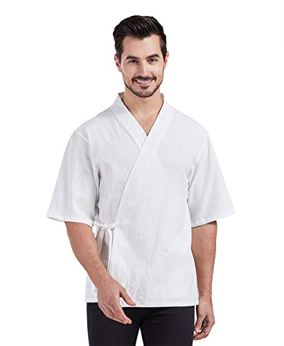 Nanxson chef coat chef jacket Cook clothes Work clothes Cooking Short-sleeved kitchen chef overalls CFM0074 (white, Medium)