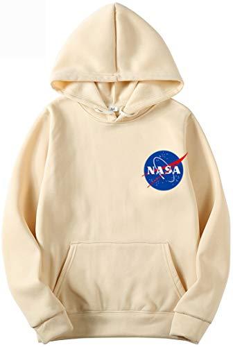 OLIPHEE Sudaderas con Capucha Color Sólido con Logo de NASA para Fanáticos de Aeroespacial para Hombre c/kq-L