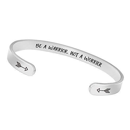 Inspirational Bracelets for Women Bangle Mantra Jewelry with Gift Box (Be a Warrior,not a worrier)