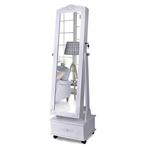 JN Specchio Portagioie Lampada Donna Bianco-LED con Serratura Armadio Specchio Portagioie Organizzatore di Gioielli Lungo Specchio Portagioielli