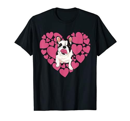 Bulldog Francés Perro Cachorro Amor Corazón Lindo Frenchie Camiseta