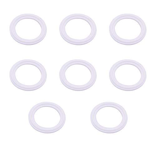 YouU 8 Stück Dichtungsringe Silikon Dichtung Sanitär Für Tri Clamp Typ Ferrule Dichtungen Weiß O-Ringe 1,5-Zoll- / 2-Zoll-Ausführung für Außendurchmesser 50,5 mm/Außendurchmesser 64 mm (1.5 inch)