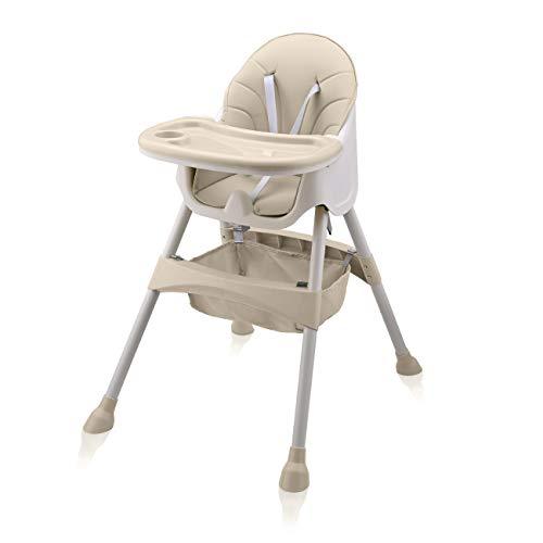 Baby Vivo Hochstuhl 2in1 Baby Kinder Babyhochstuhl Kombihochstuhl - Abnehmbares Verstellbares Tablett - mit Hängekorb - Oscar in Beige
