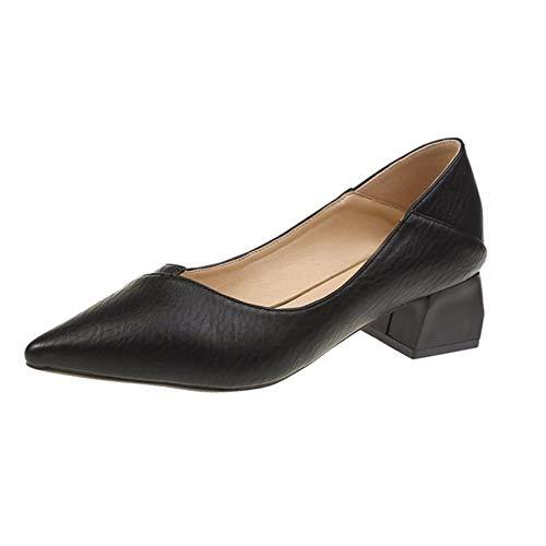 Zapatos de Corte de Punta Estrecha para Mujer, Zapatos de tacón Alto de Trabajo Poco Profundos, tacón Medio, Primavera otoño, Oficina, Bombas de Carrera