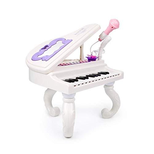 Digitale piano Children's Keyboard Toy 2-3 jaar oude Kleine Piano puzzel Early Education Verjaardagscadeau Playing The Piano Verlichting met microfoon (Kleur: wit) (Color : White)