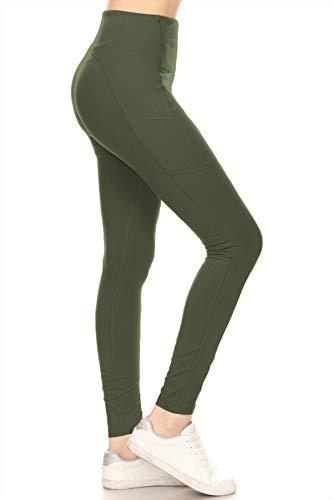 Leggings Depot YL7A-OLIVE-L High Waisted Athletic Side Pockets Yoga Pants-Olive, Large