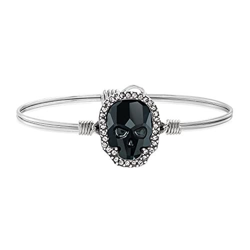 Luca + Danni | Crystal Pave Skull Bangle Bracelet in Jet For Women - Silver Tone Regular Size Made in USA