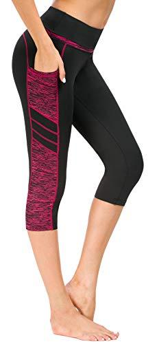 Flatik Damen Netzoberfläche Sport Gym Yoga Laufen Fitness Leggings Hose, Schwarz Rot(3/4 Capri), L