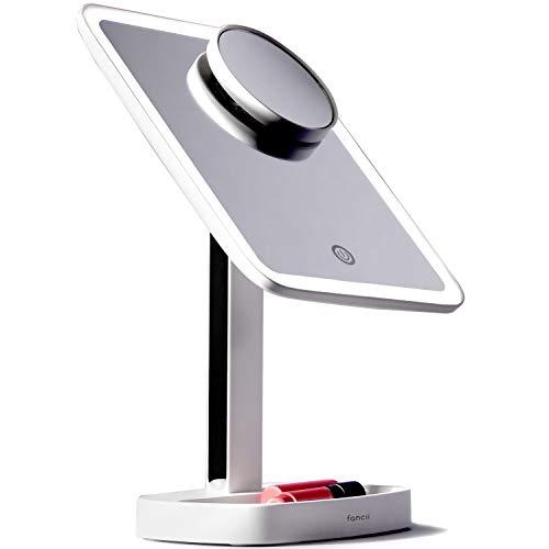 Fancii Espejo Maquillaje con Luz LED y 3 Modos de Luz Ajustables, Aumento de 1x y 15x - Elige Entre Iluminación Natural, Neutral y Cálida (Aura)