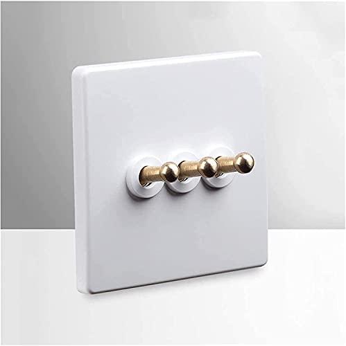 Blanco 1 Gang / 2 Gang / 3 Gang Wall Interruptor de pared de acero inoxidable Interruptor de luz del panel con interruptor de palanca de palanca de color dorado para el interruptor del panel de pared