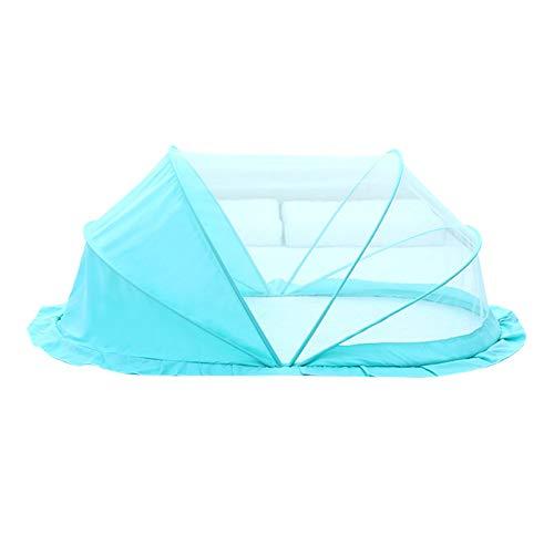 ZGF Baby Bed Portable Folding Crib Mosquito Net Portable Cots Newborn Foldable Crib Bottomless Anti-Bug Crib Sun Shelter,Blue,Medium