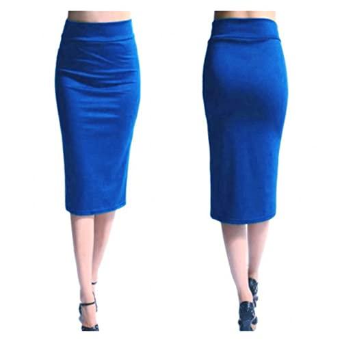 Damskie spódnice, ciasne spódnice, panie biurowe, szczupła kolana wysoka talia stretch sexy ołówek spódnice (Color : Blue, Size : M)