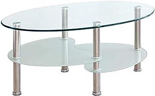 NAKURA Mesa de Centro de Cristal Ovalada con Cuatro Patas cromadas y baldas de revistero para salón, Comedor, Dormitorio, Sala de Estar o recepción